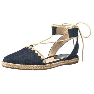 Nine West Unah Almond Toe Ankle Wrap Slide Flats 8